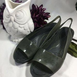 CROCS Slignback Open Toe Jelly Flats Sandals